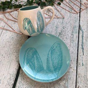 Other - Rabbit bunny mug plate set blue Easter ceramic